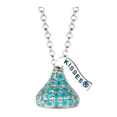 Designed in Sterling silver with mint green Cubic Zirconium, this Small Flat Back Hershey's Kiss December Pendant includes an 16 inches with 2 inch extension Rolo chain with Lobster claw.