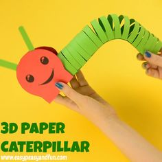 Paper Caterpillar Craft with Template This adorable paper caterpillar craftfor kids is a cute and wiggly project to make with your kids!This adorable paper caterpillar craftfor kids is a cute and wiggly project to make with your kids! Paper Crafts For Kids, Craft Activities For Kids, Diy Arts And Crafts, Preschool Crafts, Projects For Kids, Fun Crafts, Decor Crafts, Diy Projects, Preschool Kindergarten