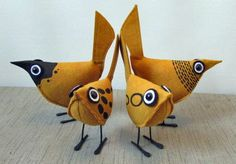 Gold Pip Bird Wool Felt by UpInFlight on Etsy
