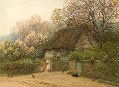 Thatched Cottage with Figures ~ Helen Allingham ~ (English: 1848-1926)