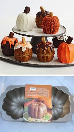 Mini pumpkin cakes - I'm making these for my daughter & husband's first Thanksgiving get together! Mini pumpkin cakes - I'm making these for my daughter & husband's first Thanksgiving get together! Pumpkin Shaped Cake, Iced Pumpkin Cookies, Pumpkin Cakes, Mini Pumpkin Pies, Pumpkin Cake Recipes, Mini Pumpkins, Halloween Food For Party, Halloween Recipe, Recife