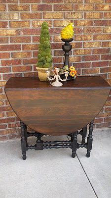 Stained and Painted Drop Leaf Table