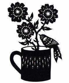 Flower Pot  5 x 7 inch Cut Paper Art Print by ruralpearl on Etsy, $14.00