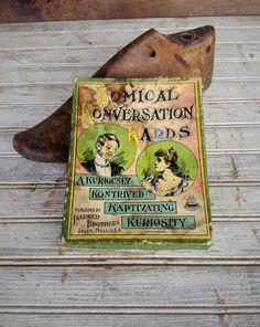 Antique 1893 Komical Konversation Kards. A Kuriously Kontrived Kaptivating Kuriosity. Published by Parker Brothers Salem, Mass. U.S.A.