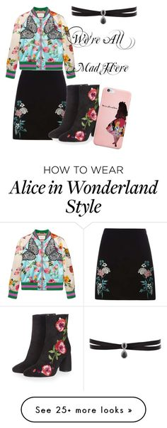 """""""We're All Mad Here"""" by autumndrawz on Polyvore featuring Dorothy Perkins, Gucci, Topshop, Disney and Fallon"""