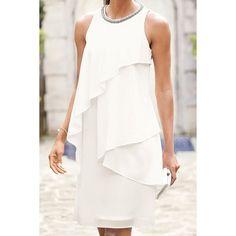 Stylish Round Collar Sleeveless Beaded Flounced Women's Dress