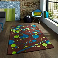 HoKo 59 Br Blue Rug with Fast Free UK Delivery & best prices online Guaranteed. Huge choice of quality styles and designs in stock at Land of Rugs. Cheap Rugs, Green Carpet, Textile Patterns, Textiles, Modern Colors, Living Room Inspiration, Rugs Online, Modern Rugs, Rugs On Carpet