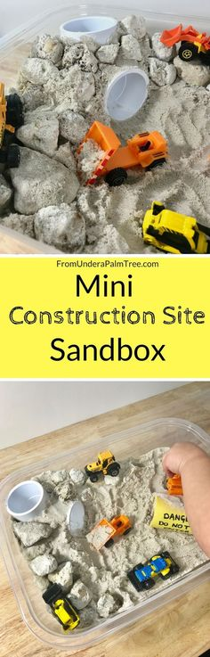 Mini Construction Site | This Mini Construction Site Sandbox is the perfect hands-on activity to help stimulate your child's senses.
