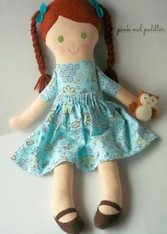 Fabric Doll Cloth Doll Handmade Rag Doll OOAK Soft Doll with Removable Skirt and Friendly Owl