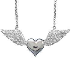 NON-TARNISH RHODIUM OVER SOLID .925 STERLING SILVER HEART with CZ WINGS NECKLACE - Necklaces & Pendants