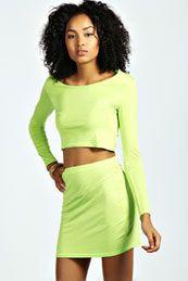Jada Long Sleeve Crop Top & Bodycon Skirt Co-Ord Set