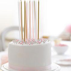 Partykerzen lang & dünn, 16 St., rosa, weiß, gold