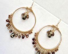 BLACK FRIDAY SALE Gold Hoop Earrings Champagne Zircon Beaded Earrings Wire Wrapped Natural Gemstone Luxury Fashion