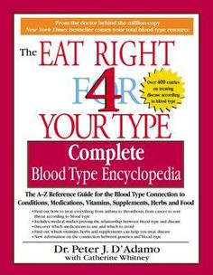 Eat Right 4 Your Type Complete Blood Type --This is a great book and one you will want to keep for reference. My doctor  tested me for my blood type and recommended it highly, as I have a lot of food allergies.  Very good --breakdown of what fitness, foods, and diets you should follow based on your specific blood type (the way God made you).  I like it as customized to fit your specific body versus across the board. Essential reference book to answer all your questions about conditions, herbs..