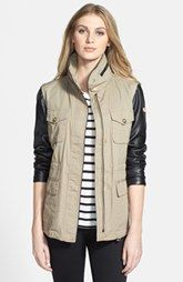 Vince Camuto Faux Leather & Cotton Anorak