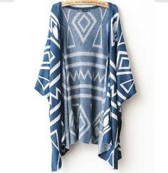 $27.00 | Geometric Shawl Loose Sweater Coat