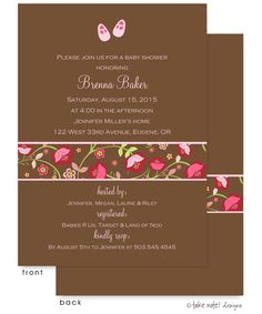 Pink Baby Shoes Red and Pink Floral Band Invitation: Unique and Beautiful Baby Shower Invitations by take note! designs. Cards can be used for a birth announcement or baby naming as well, all things celebrating the new baby or baby on the way! Cards are front AND backside printed, making these cards extra special.