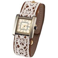 boho lace and leather fashion | Decree® Ladies Lace Fashion Watch Goldtone - Polyvore