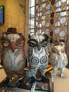 soft sculpture owls by Ann Wood.  Can't get enough of her owls.