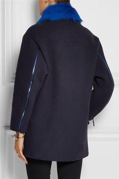 KENZO Shearling-trimmed wool-blend coat NET-A-PORTER.COM
