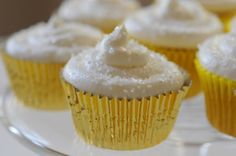 Gold foil liners for cupcakes topped with glitter