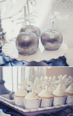 silver glitter apples and snowflake cupcakes