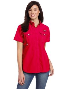 2266364c Columbia Women's Bahama Short Sleeve Shirt, Large, Bright Rose: Handy  pockets and helpful performance features like venting and UPF 30 combine  with simple ...