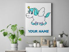 Blue flying Personalized unicorn canvas wall decor for kids personalised unicorn canvas ready to hang on the wall unicorn picture by funkytshirtsfactory on Etsy Unicorn Pictures, Unicorn Wall, Canvas Wall Decor, Canvases, Cool Stuff, Kids, Handmade, Blue, Etsy