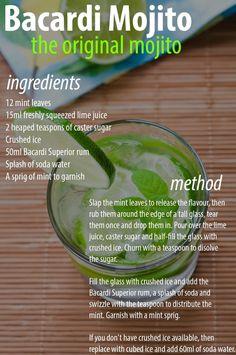 Bacardi Mojito - The Original Mojito Recipe - minimaldesign.supertahmin Bacardi Mojito - The Origina Bacardi Drinks, Bacardi Mojito, Mojito Cocktail, Alcoholic Drinks, Mint Mojito, Original Mojito Recipe, Original Recipe, Easy Mojito Recipe, Cuban Mojito Recipe
