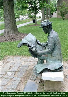 'The Newspaper Reader' by J. The bronze man reads 'The New York Times' on a park bench among the trees in Princeton's Borough Park. This is one of several casts of the sculpture, some of which are reading other newspapers. Book Sculpture, Outdoor Sculpture, Modern Sculpture, Outdoor Art, Bronze Sculpture, Garden Sculpture, Seward Johnson, Public Art, Newspaper