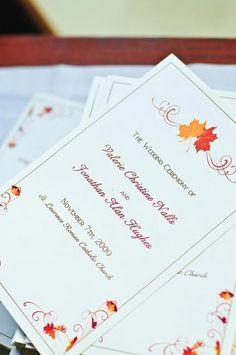 Fall Leaves Swirl Wedding Ceremony Programs