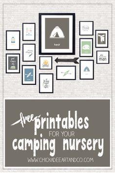 FREE camping themed printable nursery wall art from Chickadee Art and Company  http://www.chickadeeartandco.com/camping-free-printables/