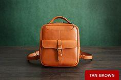 Custom Handmade Vegetable Tanned Leather Backpack, Shoulder Bag, Satchel Bag D005 / MoshiLeatherBag