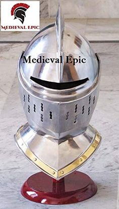 European Closed Helmet - Medieval Knight Armor Helm Larp Sca -Role Play Costume Medieval Epic