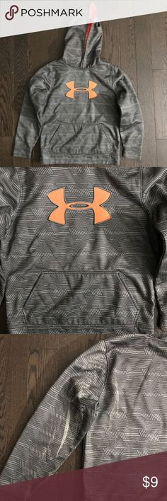 YMD Boy Under Armour Gray Orange Hoodie Sweatshirt *Gently used, good condition....white paint stain (note pic) *Clean *Smoke and pet free *No holds/trades Under Armour Shirts & Tops Sweatshirts & Hoodies