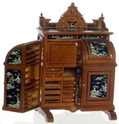 "$279.99   Miniature Wooton Desk.  1"" scale   5 1/2""H x3""D x 3 5/8""W  Wooten style  Walnut, hand painted details with Asian motif."