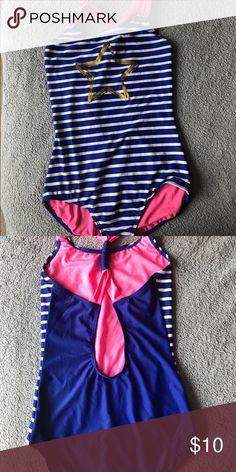 O/'RAGEOUS color block blue//purple w green straps keyhole swimsuit,girls 8,12,14