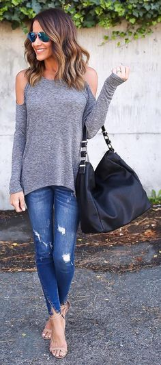 Grey Off Shoulder Knit + Ripped Skinny Jeans