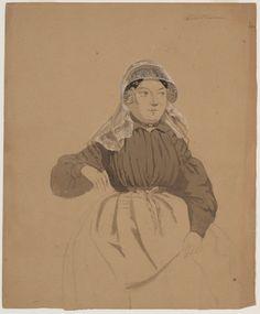 voorstudie in aquarel: zittende vrouw in kleding Middelharnis kunstenaar: Bing, Valentijn Braet von Überfeldt, Jan 1850-1857 #GoereeOverflakkee #ZuidHolland