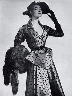 Satin cocktail dress by Jeanne Lanvin, 1951