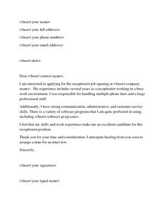 cover letter sample for receptionist