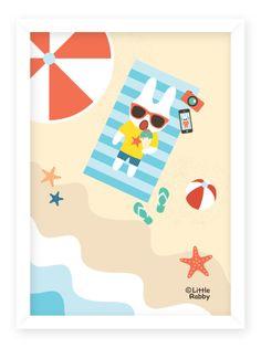 ⓒ Little Rabby / Rabby at the beach / 2014 #littlerabby #illustration #character