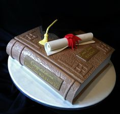 "Graduation cake -- ""Dissertation"" with cap (would want a tam instead of mortar board)"