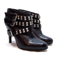 Black Leather Ankle Boots Size 6.5 Strappy Studded High Heels Punk Rocker Biker #REPORT #FashionAnkle #Casual