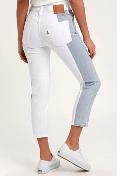 Spice up your closet with a pair of Levi's 501 Taper Light Wash Color Block Cropped Jeans! Light wash denim shapes these mid-rise jeans. Heels Outfits, Outfit Jeans, Jean Outfits, Club Outfits, Grunge Outfits, Cropped Jeans, Trouser Jeans, Ripped Jeggings, Ripped Skinny Jeans