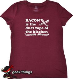Womens bacon tshirt funny geekery t shirt duct tape kitchen girls foodie top yummy meals made easy ladies fun cooking tee girlfriend gift