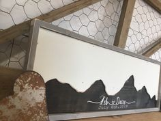 Excited to share the latest addition to my #etsy shop: Mountain Wedding Guest Book Alternative-  Mountain Wall Art - Wedding Guestbook - Rustic Wood Wedding Sign