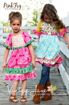 Peasant Top Pattern Girls Free | Jane Peasant Top and Dress for Girls by Pink Fig Patterns, plus FREE ...