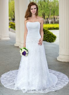 A-Line/Princess Sweetheart Chapel Train Taffeta Lace Wedding Dress With Ruffle Beading (002001706) http://www.dressdepot.com/A-Line-Princess-Sweetheart-Chapel-Train-Taffeta-Lace-Wedding-Dress-With-Ruffle-Beading-002001706-g1706 Wedding Dress Wedding Dresses #WeddingDress #WeddingDresses