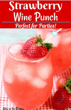 Strawberry Wine Punch {large batch} – Miss in the Kitchen This Strawberry Wine Punch is the perfect party cocktail. Easy to make ahead in a large batch, it is a real crowd favorite. Beste Cocktails, Wine Cocktails, Easy Cocktails, Cocktail Drinks, Simple Cocktail Recipes, Daiquiri Cocktail, Champagne Drinks, Cocktail Party Food, Popular Cocktails